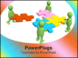 PowerPoint Template - Four green puppets with puzzles in hands
