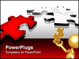 PowerPoint Template - illustration composed by many 3d puzzle pieces