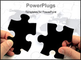 PowerPoint Template - Human hands holding pieces of a puzzle over white background.