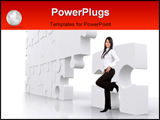 PowerPoint Template - business girl leaning on a puzzle