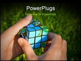 PowerPoint Template - Cube in the manner of planets land in hand on background of the herb. Shallow depth of field
