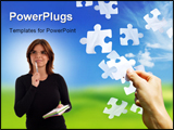 PowerPoint Template - falling jigsaw pieces with a hand catching one.