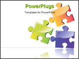 PowerPoint Template - Illustration of three colour puzzle boards with building