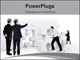 PowerPoint Template - business teamwork - business men making a puzzle over a white background