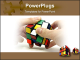 PowerPoint Template - cube in male hands close-up on white