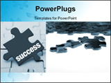 PowerPoint Template - Close up on two jigsaw puzzle pieces forward of unfinished puzzle