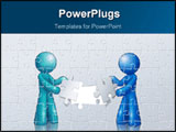 PowerPoint Template - Digital Illustration of two beings assembling a puzzle