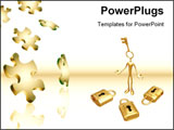 PowerPoint Template - Falling Puzzle Pieces and 3D illustration