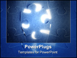 PowerPoint Template - Blue puzzle communication teamwork metaphor connection challenge