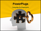 PowerPoint Template - Head with a puzzle and key. 3D image