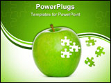 PowerPoint Template - Puzzle green apple isolated on white background