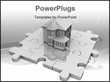PowerPoint Template - Jigsaw Puzzles and House. House standing on puzzle. Real estate puzzle.