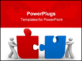 PowerPoint Template - Two figures push a red and blue puzzle piece together