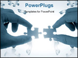 PowerPoint Template - two hands trying to put together a couple of puzzle pieces in blue tone