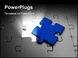 PowerPoint Template - 3d image of a white jigsaw with a blue piece
