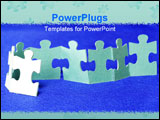 PowerPoint Template - White puzzles isolated on a blue l ** Note: Shallow depth of field