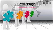 PowerPoint Template - 3d men puzzle teamwork red blue green yellow