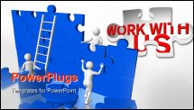 PowerPoint Template - Group of workers solving a puzzle. Concept of teamwork