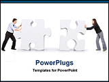 PowerPoint Template - a couple pushing two big puzzles