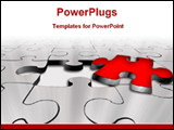 PowerPoint Template - a red puzzle separated from puzzle sheet