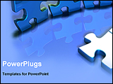 PowerPoint Template - 3d puzzles on a blue desk