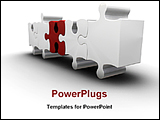 PowerPoint Template - 3d puzzles standing in a line