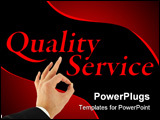 PowerPoint Template - Quality service concept with hand okay sign isolated on white