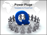 PowerPoint Template - A team of people surround the letter Q