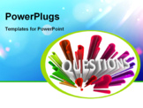 PowerPoint Template - The word Questions surrounded by question marks