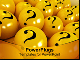 PowerPoint Template - 3D rendering of yellow spheres with question marks