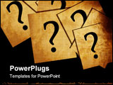 PowerPoint Template - Question marks on white papers on a dark background
