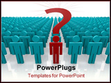PowerPoint Template - 3d render of a group of people gathered with one person front and center with a question to ask.