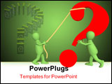 PowerPoint Template - Two 3d puppets installing a question mark.