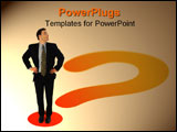 PowerPoint Template - Businessman standing on the point of a question mark looking up to an imaginary