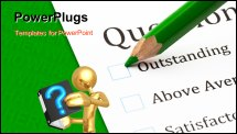 PowerPoint Template - Questionnaire check boxes and green crayon closeup