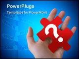 PowerPoint Template - An isolated Caucasian hand is holding a red puzzle piece with a question mark on it.