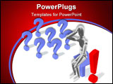 PowerPoint Template - Abstraction the image with symbols of questions and an exclamation symbol