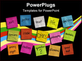 PowerPoint Template - cloud of words related to ethics color sticky notes on blackboard