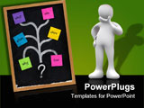 PowerPoint Template - ind map with questions decision tree or brainstorming concept presented with sticky notes and white