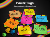 PowerPoint Template - ho what where when why how questions - uncertainty brainstorming or decision making concept colorfu