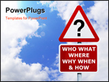 PowerPoint Template - Signpost with the six most commonly asked questions against a blue cloudy sky.