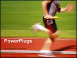 PowerPoint Template - a blurry runner in a relay race carries the baton to the next runner