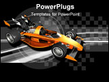 PowerPoint Template - d illustration of an orange open-wheel race car placed onto a black and silver checkered background