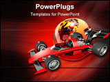 PowerPoint Template - d illustration of a red open wheel race car over top of a glossy transparent earth on a glowing bac