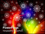 PowerPoint Template - christmas multicolor background with snowflakes. magic light