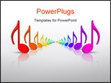 PowerPoint Template - Beautiful colourful 3d rainbow music notes in many colors