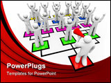 PowerPoint Template - A leader with a bullhorn rallies his team on an organizational chart