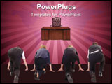 PowerPoint Template - Four business people lined up in race to win boss chair - rat race concept