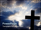 PowerPoint Template - a silhouette of a cross against a beutiful cloud filled sky with rays of sunlight shining out