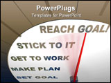 PowerPoint Template - A speedometer with red needle pointing to Reach Goal encouraging people to get motivated